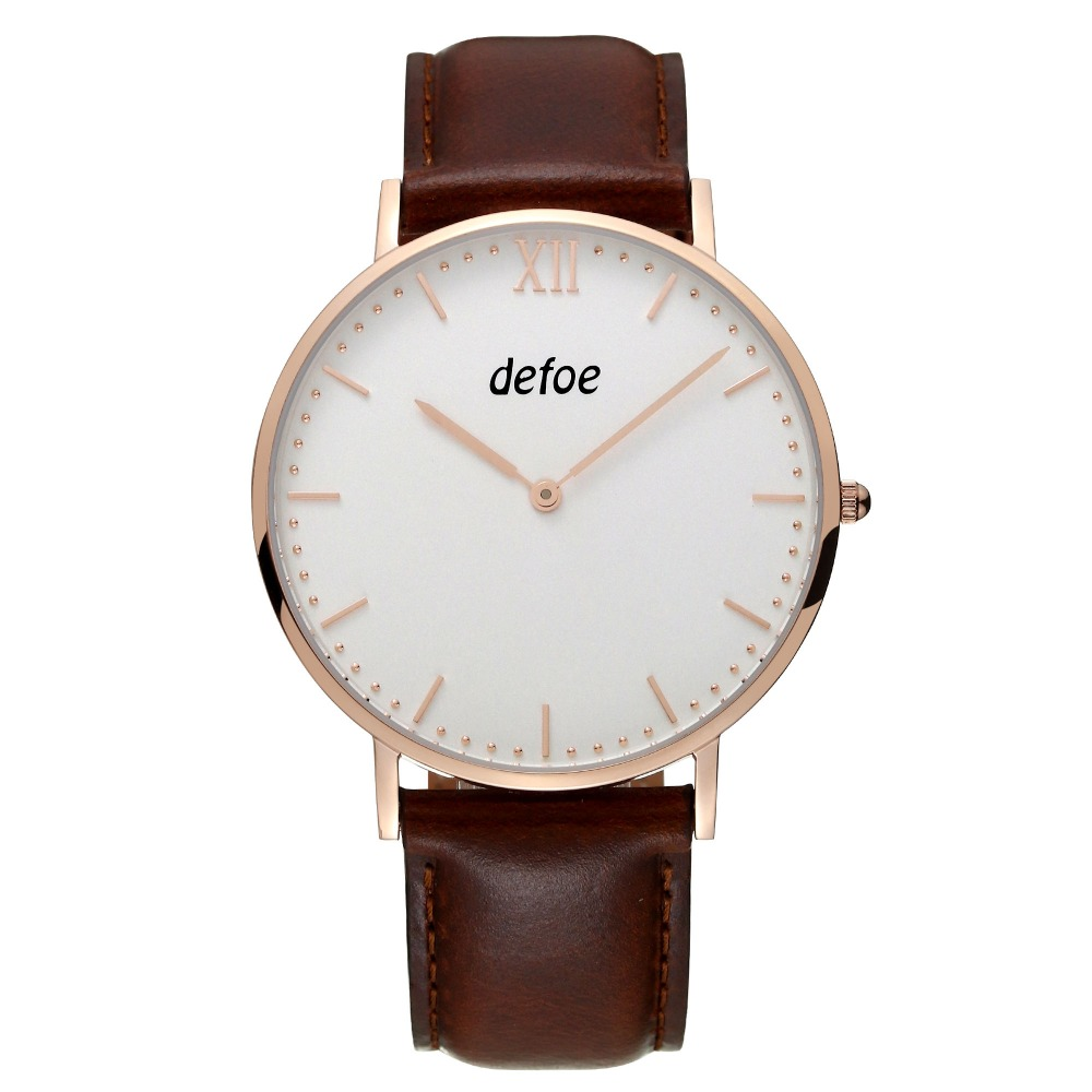 Defoe Mens Stainless Steel Watch Ultrathin Quartz Wristwatch Genuine Leather Watch DW40<br>