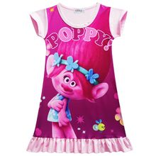 Toddler Girls Dress Princess Party Costume Cartoon Trolls Casual Clothing Vestidos Infantis Pajamas Cheap Baby Summer Clothing