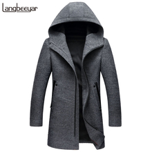 New Fashion Brand-Clothing Wool & Blends Jacket Men Hooded Business Casual Mens Peacoat Top Grade Long Winter Mens Coats(China)