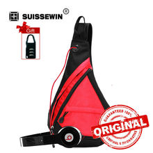 Swisswin Casual Shoulder Bags Fashion Sling Bag for Women and Men Small Waterproof Travel Chest Bag Sling Pack Bag Red SW9966