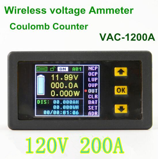 5pcs/lot VAC1200A  Multifunction Digital  power monitor Voltage  meter Coulomb Counter Volt Ammeter voltmeter 0.01-120V 0.1-200A<br><br>Aliexpress