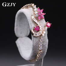 GZJY Fashion Jewelry Delicate Design Flower Red Created Zirconia Gold Color Bracelets Bangles For Women Christmas gift D09-1(China)