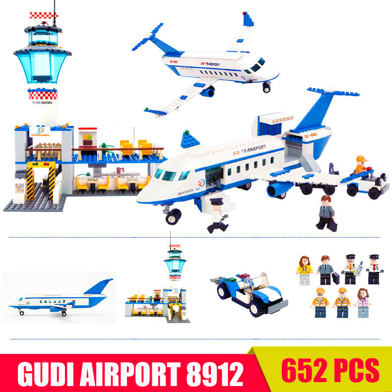 GUDI Plane Airplane Airline National Airport City Building Blocks Bricks MOC Compatible With Legoe City toys for children<br>