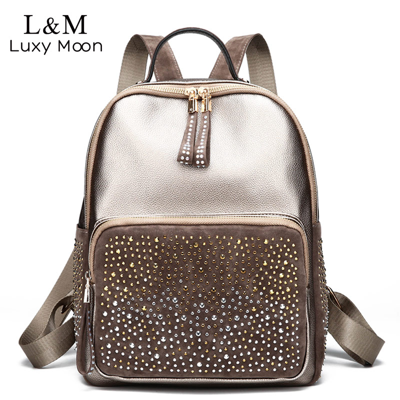 Luxy moon Leather Backpacks Teenage Girls School Bag Female Large Capacity Bling Fashion Backpack Travel Bag mochila XA1151H