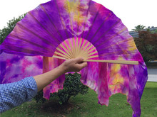 100% Sillk 75cm Long Belly Dance Fan Veils Pair Tie Dyed Bamboo Hand Fans Purple Pink Oriental Dance Accessory Free Shipping