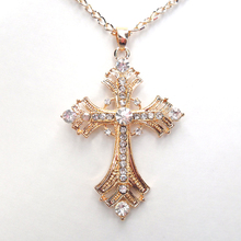 Free Shipping Crosses jewelry for women Gold silver Plated Pendant Necklace With Chain Necklaces & Pendants(China)