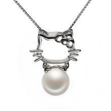 RUNZHUQIYUAN 2017 100% natural freshwater pearl Pendant charm necklace Hello Kitty 925 Sterling Silver jewelry For Women Gift(China)