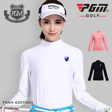 PGM Clothes Women Polo Shirt Golf Spring Long Sleeved Tshirt Plus Plush Warm Underwear Autumn Thickening Windproof Warmth Shirt