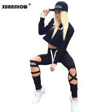 2017 Summer Style Women Tracksuits Ladies 2 Piece Set Women Long Pants and Crop Top Suit Fashion Hollow Out Sportswear