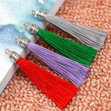 Mibrow 10pcs/lot 6cm Long Silk Tassel Brush with Metal Caps for Earrings Tassel Charms Pendant Fit DIY Jewelry Making Material(China)