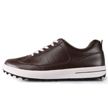 Men's Golf Shoe Sports Shoes Top Layer Leather Waterproof Breathable High Quality(brown)