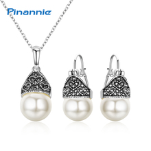 Pinannie Antique Silver Plate Color Vintage Jewellery Imitation Pearl Jewelry Sets for Women Party Wedding Gifts(China)