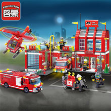 Enlighten Fire Station Rescue Control Regional Bureau 911 Building Block DIY Active Model Assemble Brick Kid Toy Gift Collection