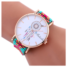 1pcs fulaida dream catcher gold case beaded watch for women exclusive style lady warp quartz elegance watch colour 7(China)