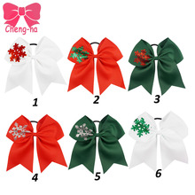 "6pcs/lot 7"" Christmas ribbon Bow printed glitter Snow Flakes Cheer Bow With Elastic Band Girls Christmas Hair Accessories"
