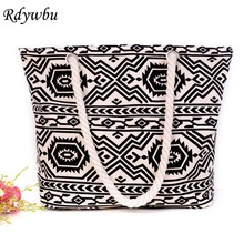 Rdywbu BLACK WHITE GEOMETRIC CANVAS SHOULDER BAG - New Casual Aztec Rope Shopping Women's Large Cord Travel Handbag B640053