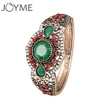 Women Retro Cuff Bracelets Green Vintage Bangles Turkish Jewelry Hand Accessories For Bag Ladies Jewelry 2017 New
