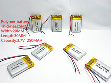 (free shipping)(5pieces/lot)Polymer lithium ion battery 250mah 3.7 V, 502030 052030 CE FCC ROHS MSDS quality certification(China)