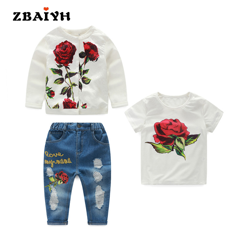 Kids Clothes 3pcs Sets Autumn Winter Children Clothe Girls Flower Fashion Cotton Set White Coat+Short T shirts+ Holes Jeans Suit<br>