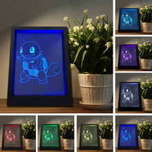 Novelty Pokemon Go Action Figure Jenny Tortoise 7 Color Changing Photo Frame Night Lights 3D Visual Lamp Kids Sleeping Toy Gifts