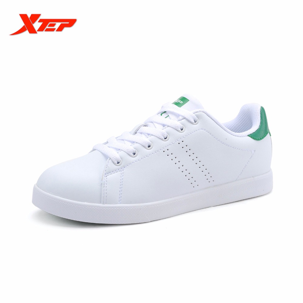 XTEP Original Brand Mens Skateboarding Shoes Sneakers Light Weight Leather Male Green Stansmith Skateboard Shoes 985319315290<br>