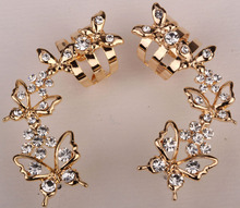 Butterfly ear wrap cuff clip earrings gold & silver color australian crystal fashion jewelry for women SC55 wholesale dropship
