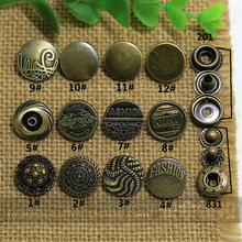 bronze color vintage 15mm metal decorative hand press snap button for clothing/bag sewing accessories 50pcs/lot