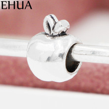 Free Shipping Sliver Bead Charm Little Apple Accessories Beads Fit Pandora Bracelets & Bangles DIY Jewelry SPB144(China)