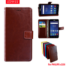 Flip Skin caso For Philips S326 case leather + silicone Original wallet pouch Capa For Philips S326 S 326 cover phone back Coque(China)