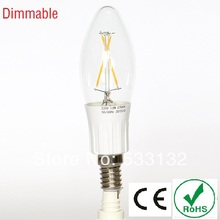 Free ship Dimmable 1.8W/3W LED filament  bulb 4pcs/lot LED lamp E14  led bulb  leb light  360 degree  C35  Candle 25W replacment