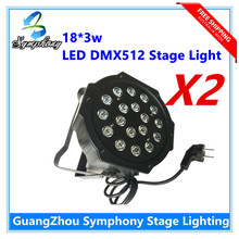 2Pcs 18*3W Led Stage Light High Power RGB LED Par Can With DMX512 Flat DJ Disco Strobe for Home Party Wedding Bar