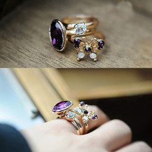3pcs/set Shiny BOHO Style Butterfly Stack Band Midi Finger Knuckle Rings Charm Purple Stone Ring Set for Women Jewelry Wholesale