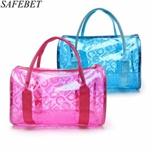 SAFEBET Brand Fashion Women Waterproof PVC Transparent Cosmetic bag Portable Travel Organizer Toiletry Bag Bath Wash Make up Bag