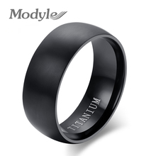 New Fashion Men's Pure Titanium Rings Black Plated 8mm Wide U.S Size 6-14 Wholesale