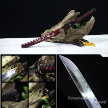 Grade A-Japanese Wakzashi Katana Handmade 1095 Steel Full Tang  Sword Wine Red Scabbard Inlay Shells