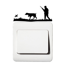 Interesting Hunter Hunting Quail Cartoon Vinyl Decor Light Switch Sticker 5WS0302
