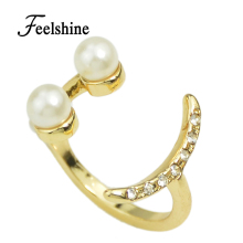 2016 New Fashion Accessories A Series Of Smiles Ring Star Simulated Pearl Rhinestone Ring