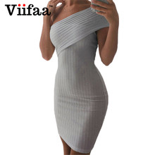 Buy Viifaa Women One Shoulder Knitted Sweater Dress 2017 Summer Gray Bodycon Party Elegant Vestidos Sexy Dresses for $12.59 in AliExpress store