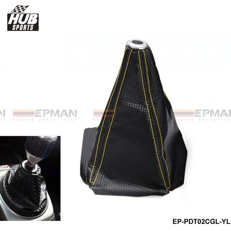 Universal Carbon Fiber Look Black Shift Boot For Shift Gear Knob Stitch (Yellow,Blue,Red) For Toyota rav4 HU-PDT02CGL