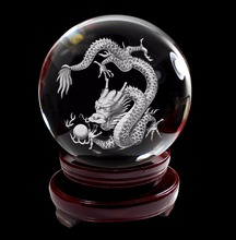 IFOLAINA 3D Laser Engraved Chinese 12 Zodiac Signs Crystal Ball K9 Crystal Glass Ball with Wooden Stand 80mm