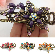 LNRRABC Vintage Elegant Flower Hair Clip Crystal Hairpin Barrette Hair Accessories Gift acessorio para cabelo Hair Claws