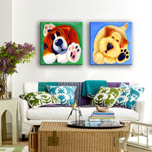 Modern Canvas Painting No Frame Canvas Art Pictures Cartoon Animal Pet Dog Fashion cute for Bedroom Living Room Wall Decor(China)
