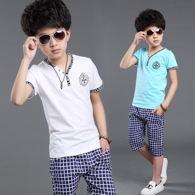 Summer Boys Clothes 2016 New Baby Boy Clothing Set Pattern Letter Printed Boys Clothing Plaid Kids Clothes Children Clothing Set<br><br>Aliexpress