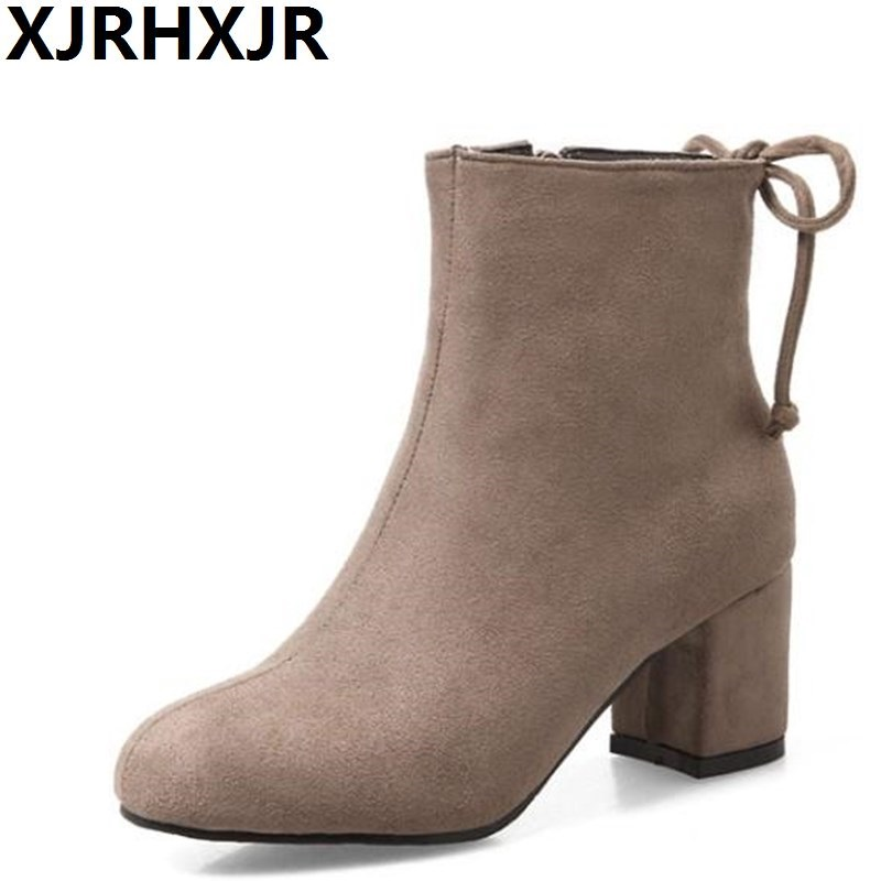 XJRHXJR Womens Shoes Fashion Suede Leather Ankle Boots Large Size 31-43 Shoes Woman Autumn Winter Martin Boots Thick Heels<br>