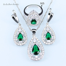 L&B silver 925 Bridal Jewelry Sets For Women White Zircon Green Created Emerald Necklace Pendant Earrings Rings
