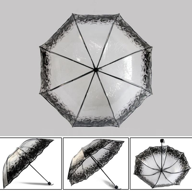 مظلة شفافة قابلة للطي للنساء 4
