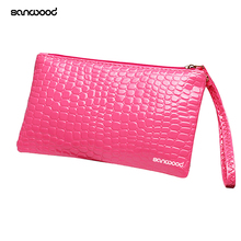 Women's Coin Purse Clutch Wristlet PU Leather Handbags Wallet Purse Card Phone Holder Makeup Bag Clutch Small Handbag(China)