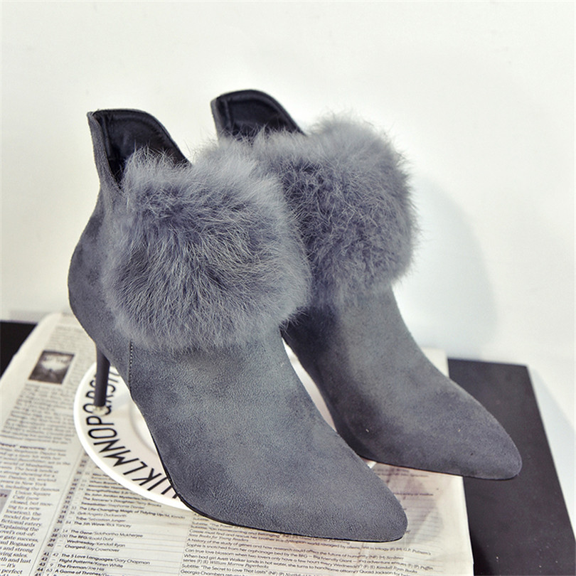 Women Tassel Martin Boots Plus velvet Fine With Mid Heel Scrub After the Zipper Pointed 2016 New Fashion Warm Winter Hairy Shoes<br><br>Aliexpress