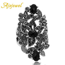 Ajojewel Black Crystal Rhinestone Flower Jewelry Vintage Retro Ring Woman Big Rings Ringen(China)