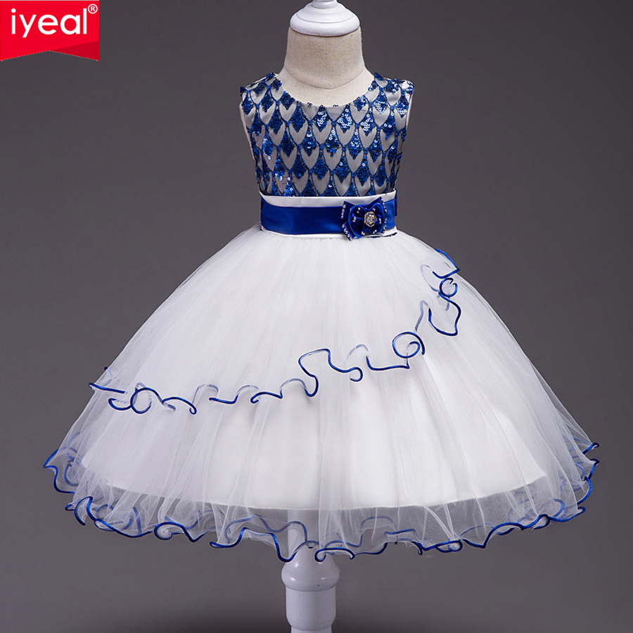 IYEAL Girls Flower Dress Kids Birthday Party Dresses Elegant Fashion Sequined Children Princess Wedding Gowns Clothes for Girl<br>